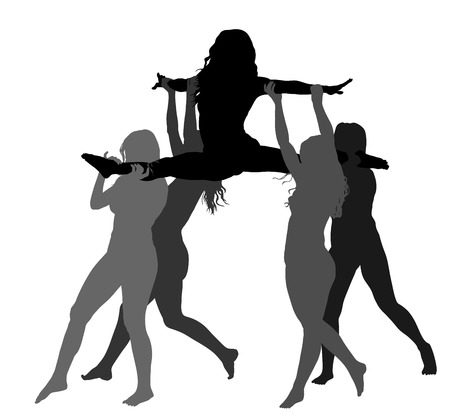 Cheerleader dancers figure vector silhouette illustration isolated. Cheer leading girl sport support.