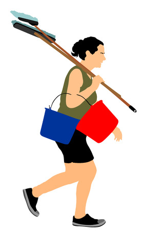 Floor care and cleaning services with washing mop in sterile factory or clean hospital. Cleaning lady service vector illustration. Housemaid cleaner with bucket and equipment. Housework job.