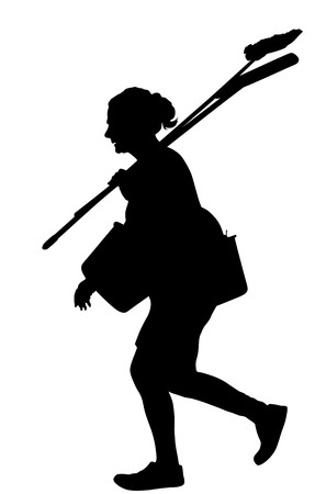 Floor care and cleaning services with washing mop in sterile factory or clean hospital. Cleaning lady service vector silhouette illustration. Housemaid cleaner with bucket and equipment. Housework job