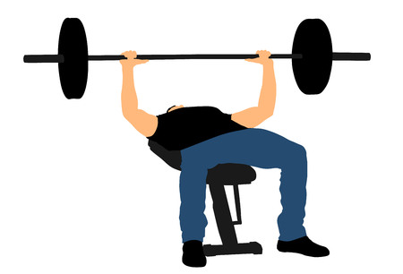 Weightlifter on bench gym vector illustration isolated on white background. Working out. Sports guy doing exercise on simulator.sports man Bodybuilder in training. Health and fitness. Weightlifting. Illustration