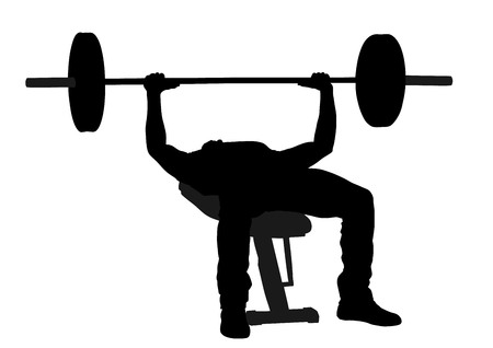 Weightlifter in gym vector silhouette illustration isolated on white. Working out. Sports guy doing exercise with barbell. Sports man body builder in training on bench. Health and fitness trainer.