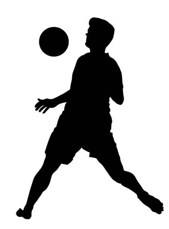Sand soccer player vector silhouette illustration isolated on white background. move in football game.  Sportsman summer activity, Man recreation after work.
