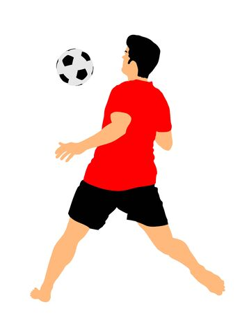 Sand soccer player vector illustration isolated on white background. move in football game.  Sportsman summer activity, Man recreation after work. Ilustração