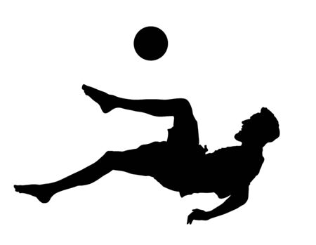 Sand soccer player vector silhouette isolated on white background. Scissor moves in football game. Beach attraction. Summer fun with ball. Effective move in football. Spectacle for public. Sport man. Ilustração