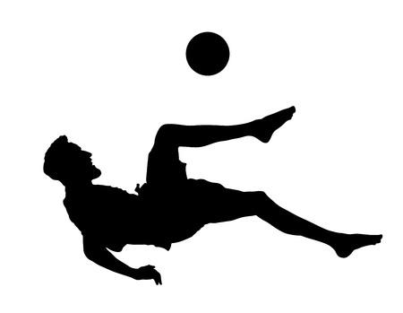 Sandfußballspieler-Vektorschattenbild lokalisiert auf weißem Hintergrund. Scherenbewegungen im Fußballspiel. Attraktion am Strand. Sommerspaß mit Ball. Effektive Bewegung im Fußball. Spektakel für die Öffentlichkeit. Sportlicher Mann. Vektorgrafik