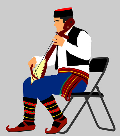 Guslar play gusle, traditional music instrument from Montenegro and Balkan. Balkan music player and singer vector illustration. Folklore event. Ilustração