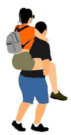 Boy carrying girl on the back vector illustration isolated on white background. Funny game between close friends. Couple in love funny situation. Closeness and tenderness. Boyfriend helps girlfriend. Illustration