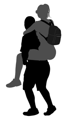 The boy is carrying a girl on the back vector silhouette illustration isolated on white background. Çizim