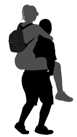 The boy is carrying a girl on the back vector silhouette illustration isolated on white background. Funny game between close friends. Couple in love funny situation. Çizim