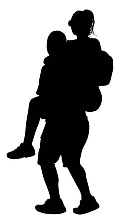 Boy carrying girl on the back vector silhouette isolated on white background. Funny game between close friends. Couple in love funny situation. Closeness and tenderness. Boyfriend helps girlfriend.