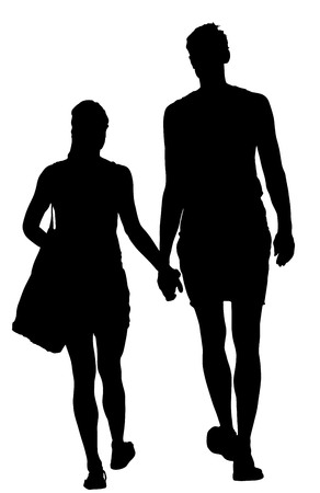 Young couple in love walking and holding hands vector silhouette. Happy time for lovers. Beautiful back view of sport tall people. Boyfriend and girlfriend closeness after beach. Sun ten protect.