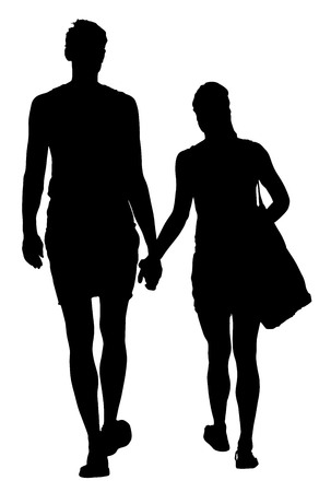 Young couple in love walking around and holding hands vector silhouette illustration. Tall boy and girl. Happy couple walking.