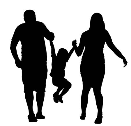 Happy family enjoying in walking vector silhouette illustration. Mother and father holding hands with his son. Kid play game with parents. Fathers day or mothers day concept. Birthday celebration.