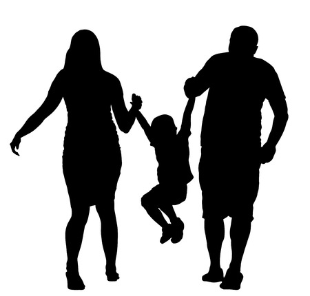 Familia feliz que goza en la ilustración de la silueta del vector que camina. Madre y padre tomados de la mano con su hijo. Juego de niños con padres. Ilustración de vector