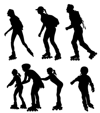 Pareja de patinaje sobre ruedas en el amor disfrutando en la silueta del vector del parque aislado sobre fondo blanco. Chico patinador montando ruedas con chica patinadora. Familia de mujer y hombre patinar con mochilas. Cuidado de la salud.