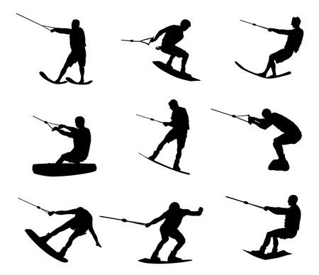 Illustrazione della siluetta di vettore di sci nautico isolato su priorità bassa bianca. Sport di sci d'acqua. Orario estivo sulla spiaggia. Acrobata di sci sul mare. Bagnino di pattuglia in acqua. Kitesurfer o parapendio. Vettoriali