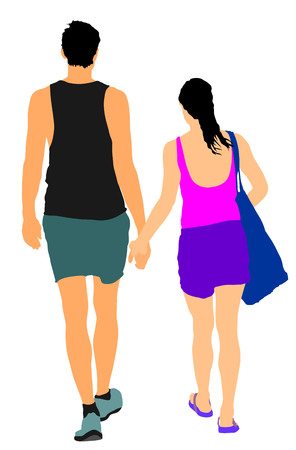 Young couple in love walking and holding hands vector. Happy time for lovers. Beautiful back view of sport tall people. Boyfriend and girlfriend closeness after beach. Sun ten protect concept.