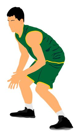 Basketball player vector illustration isolated on white background. Fight for the ball. defense and attack positions in street basket sport. Block or dunk situation. Sportsman in air jump. 写真素材 - 129194074