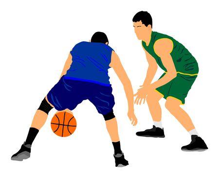 Basketballspieler-Vektorillustration lokalisiert auf weißem Hintergrund. Kämpfe um den Ball. Verteidigungs- und Angriffspositionen im Straßenkorbsport. Vektorgrafik