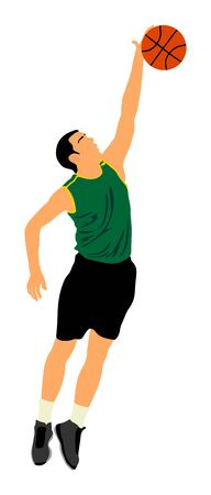 Basketball player vector illustration isolated on white background. Block or dunk situation.  イラスト・ベクター素材