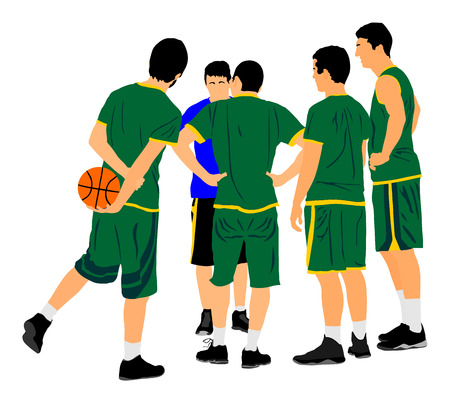 High school collegiate team. Basketball crew on time out, vector. Tactical agreement. Advice for the game.