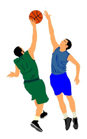 Basketball players vector illustration isolated on white background. Fight for the ball. defense and attack positions in street basket sport. hits the block over opponent player.  イラスト・ベクター素材