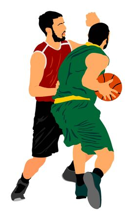 Basketball players vector illustration isolated on white background. Fight for the ball. defense and attack positions in street basket sport. 写真素材 - 129194098