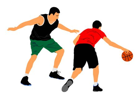 Basketball players vector illustration isolated on white background. Fight for the ball. defense and attack positions in street basket sport.