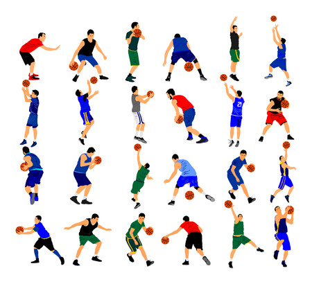 Big group of Basketball players vector illustration isolated on white background. Set of several basketball situation and position in game.