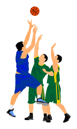 Basketball players vector illustration isolated on white background. Fight for the ball.