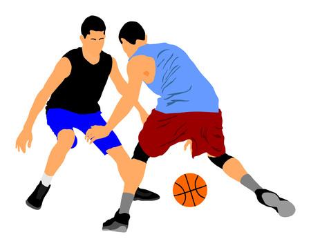 Joueurs de basket-ball vector illustration isolé sur fond blanc. Battez-vous pour le ballon. positions de défense et d'attaque dans le sport de basket de rue. Vecteurs