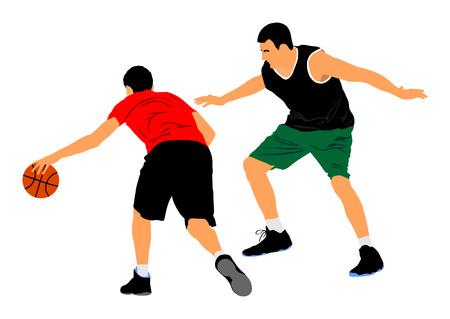 Basketballspieler-Vektorillustration lokalisiert auf weißem Hintergrund. Kämpfe um den Ball. Verteidigungs- und Angriffspositionen im Straßenkorbsport.