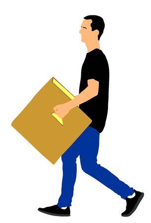 Lieferbote, der Kisten mit Waren trägt. Postmann mit Paket. Vertrieb und Beschaffung. Junge, der schweres Paket für den Umzugsservice hält. Handlicher Mann, der in Bewegung geht. Handtransportmethode. Vektorgrafik
