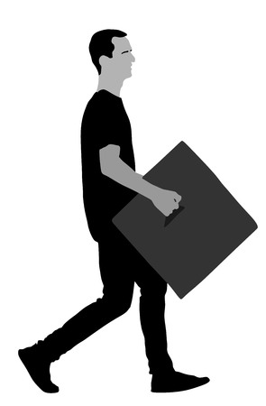 Delivery man carrying box vector silhouette illustration.