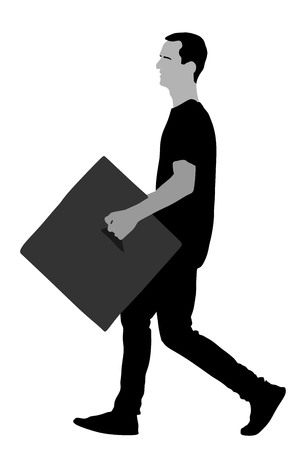 Delivery man carrying boxes of goods. Post man with package . Distribution and procurement. Boy holding heavy package for moving service. Handy man walking in move action. Hand transportation method. 版權商用圖片 - 123764799