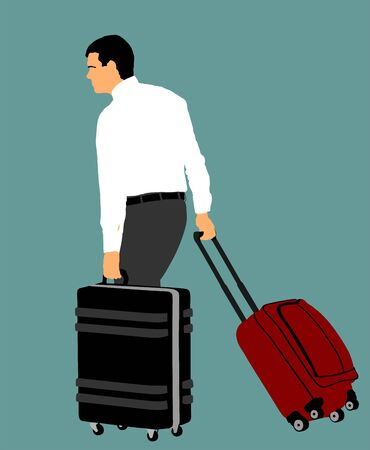 Tourist man traveler carrying his rolling suitcase vector illustration isolated on background. Business man with many bags.Man passenger waiting taxi for travel to airport. Hotel doorman boy helping.  イラスト・ベクター素材