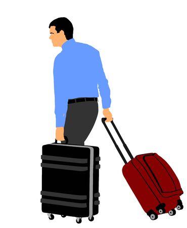 Voyageur homme touristique portant son illustration vectorielle de valise roulante isolée sur fond. Homme d'affaires avec de nombreux sacs. Passager de l'homme en attente de taxi pour se rendre à l'aéroport. Garçon de portier d'hôtel aidant.