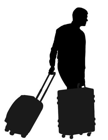 Viaggiatore turistico dell'uomo che porta la sua illustrazione di rotolamento della siluetta di vettore della valigia isolata. Uomo di affari con molte borse. Uomo in attesa di taxi in taxi per il viaggio verso l'aeroporto. Ragazzo del portiere dell'hotel che aiuta.