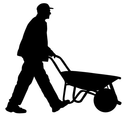 Construction worker walking with wheelbarrow vector silhouette illustration.