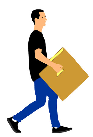 Delivery man carrying box vector illustration.