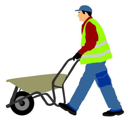 Construction worker walking with wheelbarrow vector illustration. Illustration