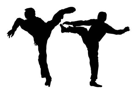 Fight between two taekwondo fighters vector silhouette illustration. Sparring on training action. Self defense skills exercising concept. Warriors in the martial arts battle. Sport competition event. Çizim