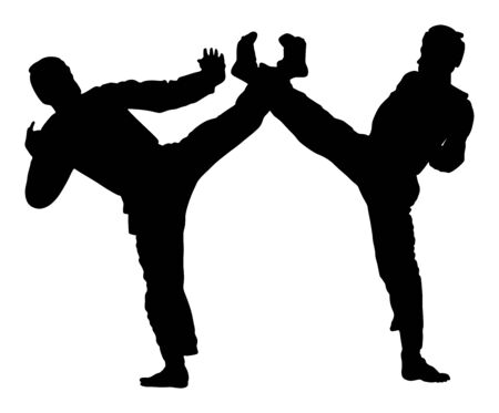 Fight between two taekwondo fighters vector silhouette illustration. Sparring on training action. Self defense skills exercising concept. Warriors in the martial arts battle. Sport competition event. Stock Illustratie
