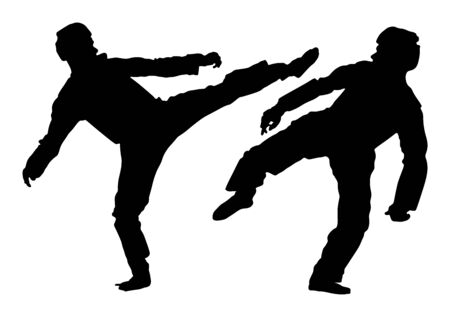 Fight between two taekwondo fighters vector silhouette illustration. Sparring on training action. Self defense skills exercising concept. Warriors in the martial arts battle. Sport competition event. Ilustração