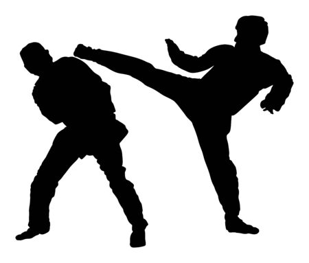 Fight between two taekwondo fighters vector silhouette illustration. Sparring on training action. Self defense skills exercising concept. Warriors in the martial arts battle. Sport competition event. Ilustrace