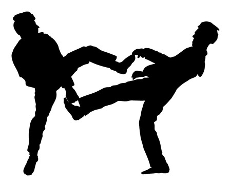 Fight between two taekwondo fighters vector silhouette illustration. Sparring on training action. Self defense, defence art exercising concept. Warriors in the martial arts battle.