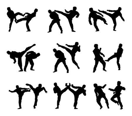 Fight between two taekwondo fighters vector silhouette illustration. Sparring on training action. Self defense skills exercising concept. Warriors in the martial arts battle. Ilustração