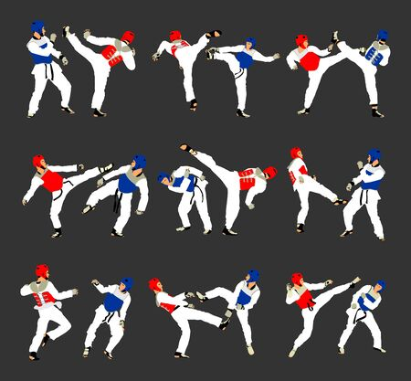 Fight between two taekwondo fighters vector illustration. Sparring on training action. Self defense skills exercising concept. Warriors in the martial arts battle. Ilustração