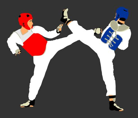 Fight between two taekwondo fighters vector illustration isolated. Sparring on training action. Self defense skills exercising concept. Warriors in martial arts battle. Tekvondo Combat competition. Çizim