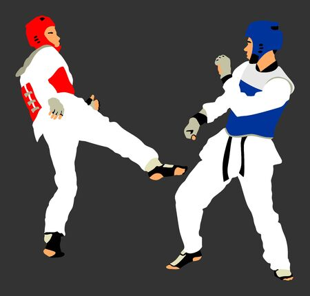 Fight between two taekwondo fighters vector illustration isolated. Sparring on training action. Self defense skills exercising concept. Warriors in martial arts battle. Tekvondo Combat competition. Ilustração